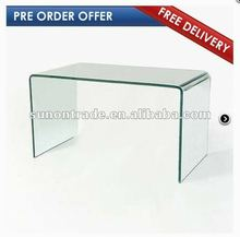 2012 modern hand curved glass coffee table design