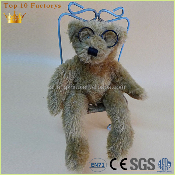 Brown joint Wholesale plush standing glasses teddy bear with handmade