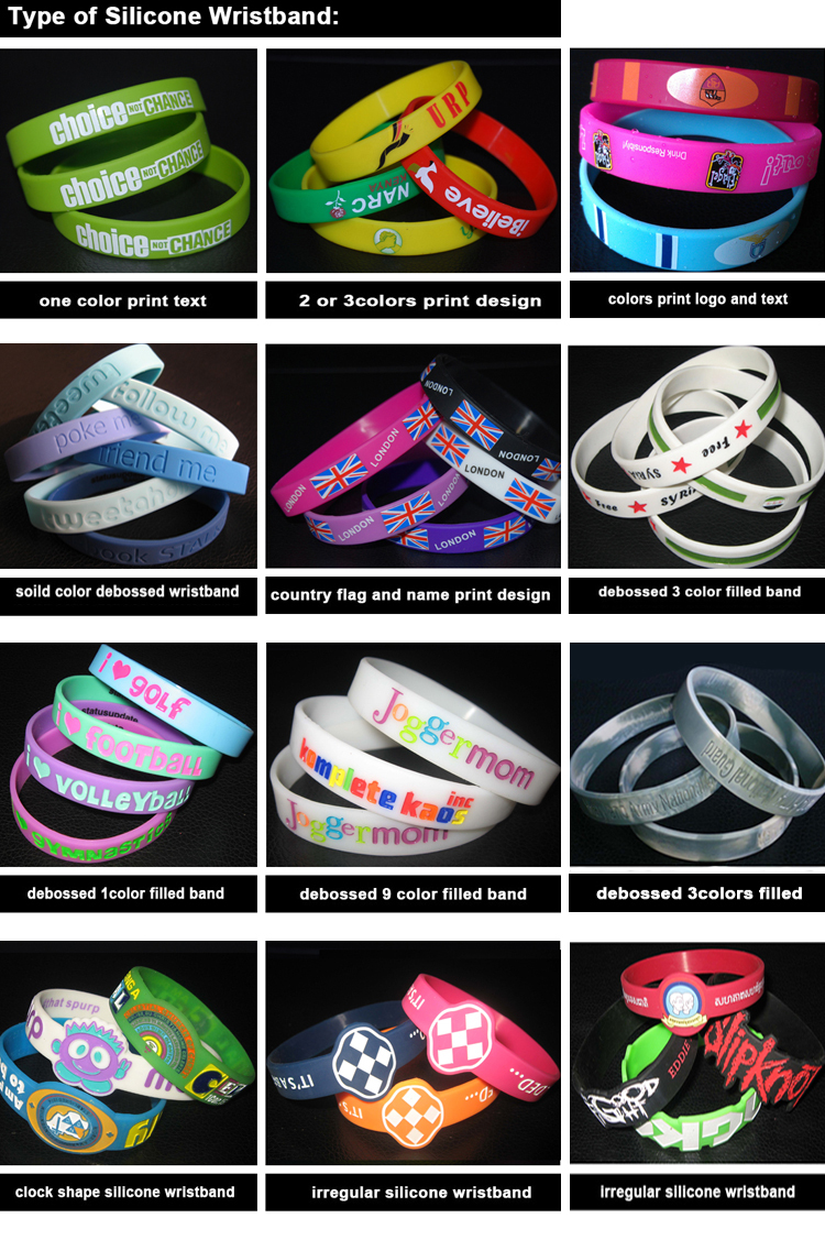 promotional custom debossed color filled silicon bracelet