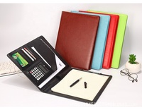 High-Grade Business Portfolio Padfolio Organizer PU Leather Documents Holder with Calculator Legal Notepad Pen Holder