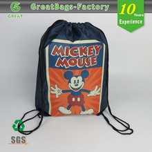Cute mickey mouse polyester strong drawstring backpack bags