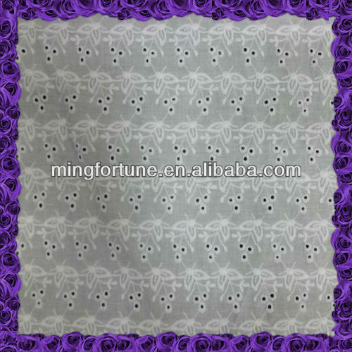 100% white swiss voile cotton embroidery fabric with eyelets