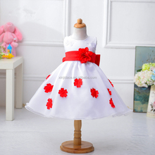 Wholesale girl party wedding dress satin embroidered simple baby frock design