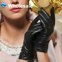wholesale fashion women black leather gloves, smart phone touch screen