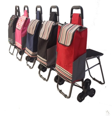 colorful convenient folding shopping cart with seat and cooler bag G1029