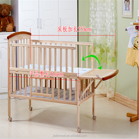 New design mulitfuntional wooden baby cot