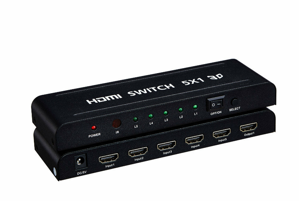1080P 5 in 1 out switch hdmi 1.4