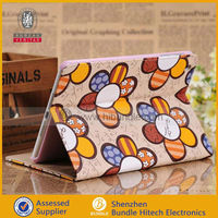 for ipad mini leather case sunflower wallet flip stand cover