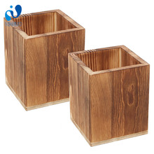 WanuoCraft Wood Pencil Cup Office Supplies Square Wood Pen Holder