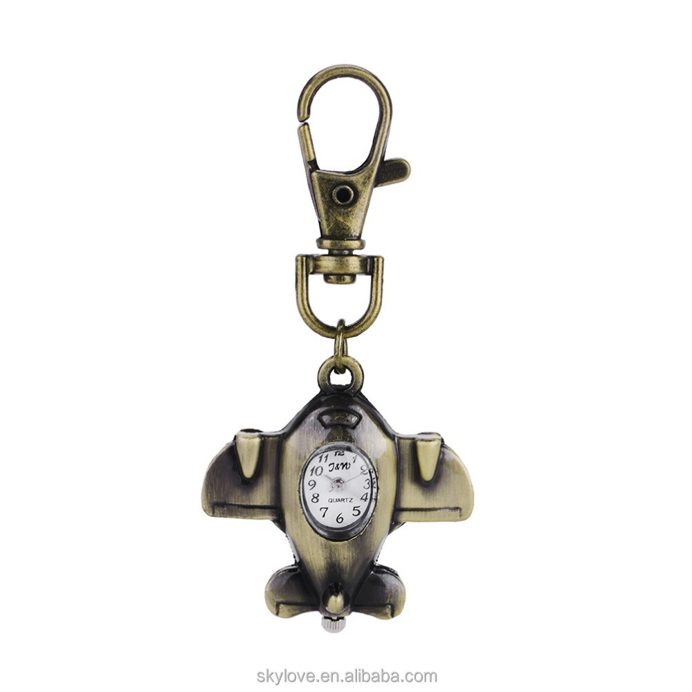 Retro digital clock airplane keychain wholesale