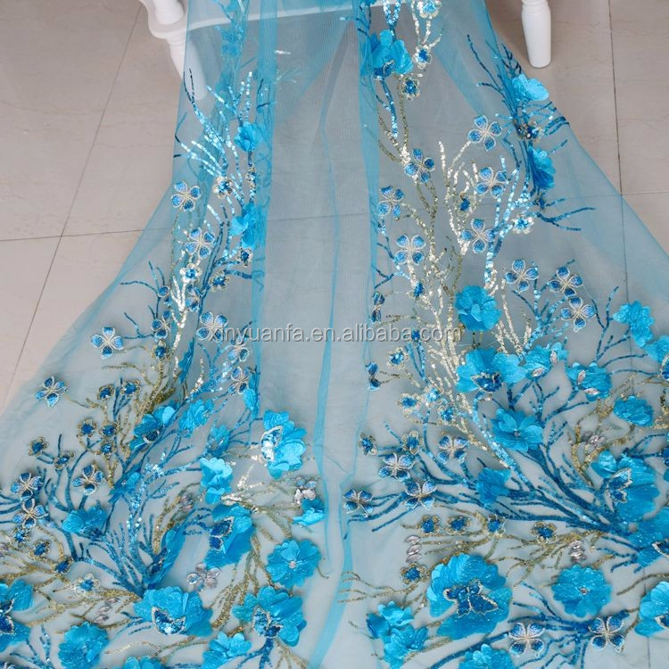 2019 New sequins embroidery 3d flower lace african guipure lace fabric