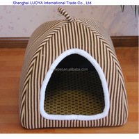 Many styles hot sale stripe plush pet kennel dog house supplier