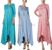 women summer long plus size Draped casual fitting loose swing trapeze dress lady,rayon jersey knit design OEM Wrap maxi dress