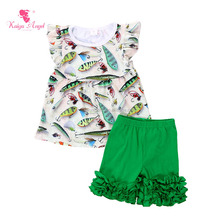Wholesale baby clothes two pieces fish design girl sets Chinese supplier