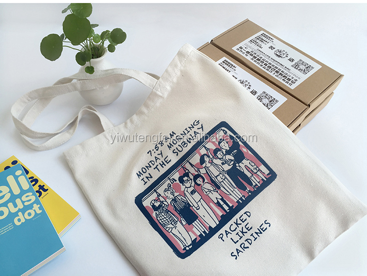 Eco friendly recycled manufacturer custom 100% cotton shopping tote bag alibaba