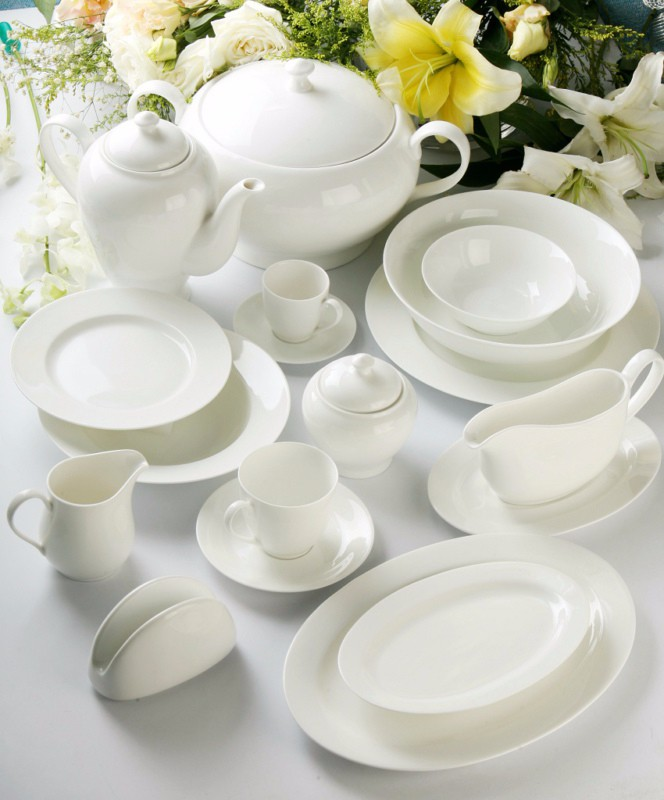 Durable new arrivals plain white new bone china dinner set