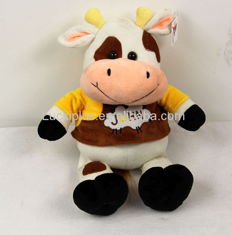 Luckiplus Hot Sale First Class Plush Doll Cute Cow Named John Safe Technology Toy For Kids