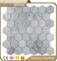 Blue Wooden Marble Hexagon 2'' Mosaic Tile Polished