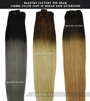 "Beauties Factory 200gram Full Thick Ombre Clip in Remy Human Hair Extension 20"" Double Wefted"
