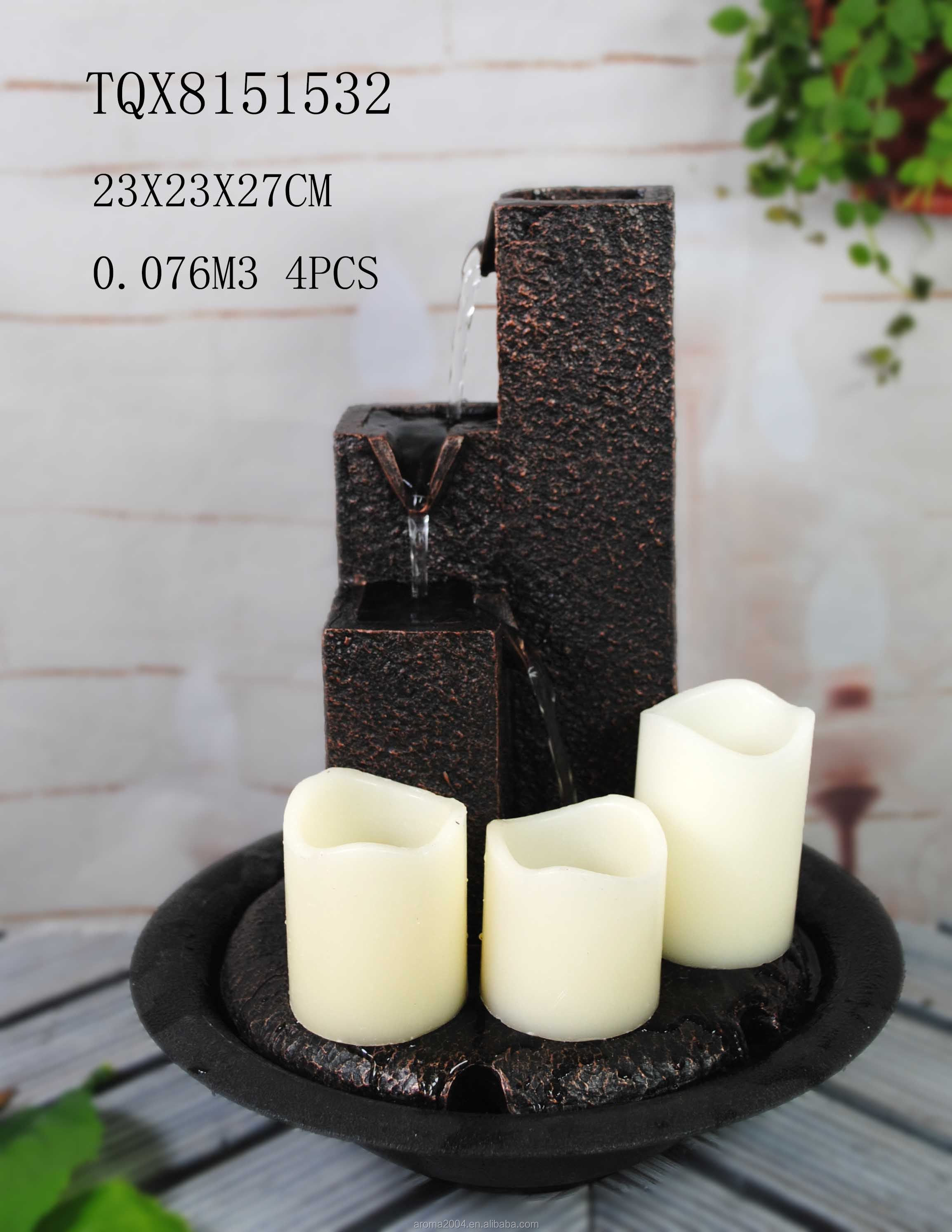 hot  resin decorative LED candle water fountain