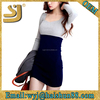 Fashion Women Slim long puff sleeves dress Contrast Patchwork Dress Sexy U Scoop neck dress