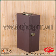 Portable gift packaging pu leather wine carrier for party