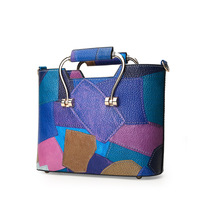 Hot sale fashion pu leather casusal colorful handbag for women