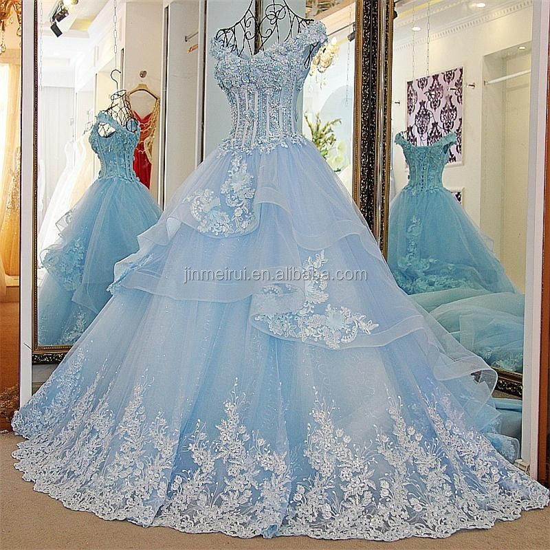 Elegant Cap Sleeve V-Neck Lace Appliques Evening Dresses Robe de Soiree 2017 New Design Puffy Evening Dress Formal Party Gowns