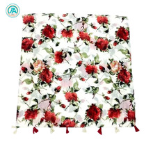 Women breathable vintage bamboo cotton linen flower printing scarf
