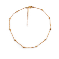 Delicate Necklace Real 18K Gold Plated Copper Minimalist Jewelry Beaded Neckalce Choker Necklace For Couple, Forever Love