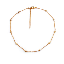 Delicate Necklace Real 18K Gold Plated Copper Minimalist Jewelry Beaded Necklace Choker Necklace For Couple, Forever Love
