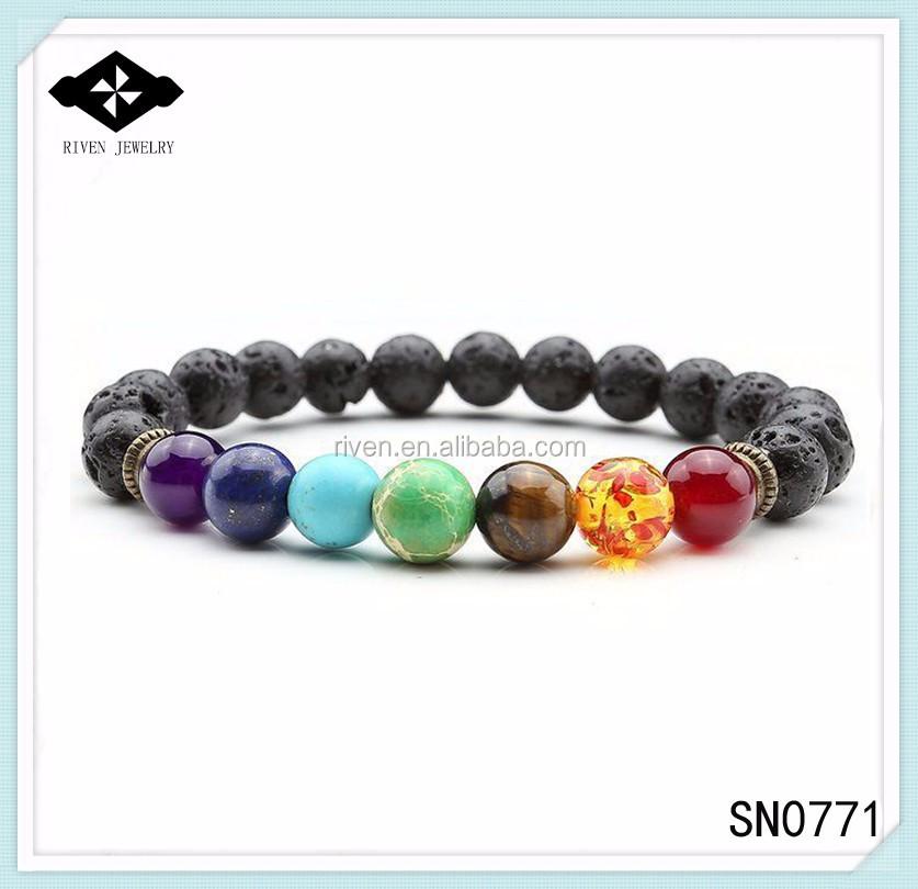 SN0771 7 Chakra Bracelet with Volcanic Lava Healing Wrist Mala Beads Amethyst Lapis Emperor stone 7 chakra color beads bracelet.jpg