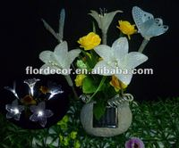 5 Led butterfly with flowers garden decorative solar fiber optic lights(SO4203)