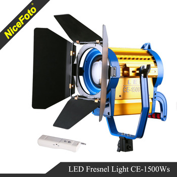 NiceFoto Continuous light LED fresnel light with barn door for video 150W