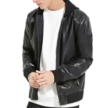 fashion man's hooded long-sleeved slanted front zipped pockets front faux leather bomber jacket