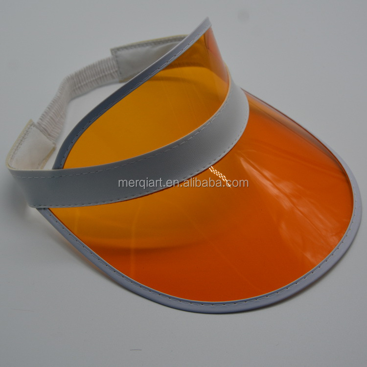 Factory direct wholesale yellow plastic pvc sun visor cap