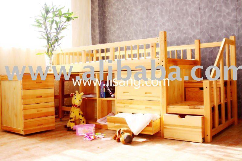 Madera maciza de pino ni os cama litera camas - Literas de madera maciza ...