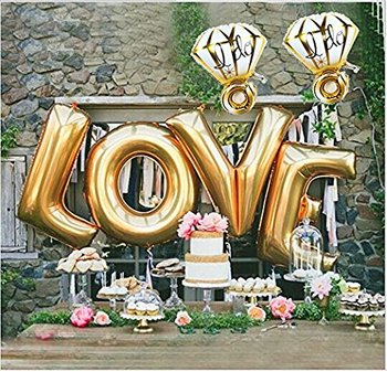 Hot Sale 40 Inch 'LOVE' Foil Balloon with 32 Inch Diamond Ring Balloon Set For Wedding Party and Valentine's Day