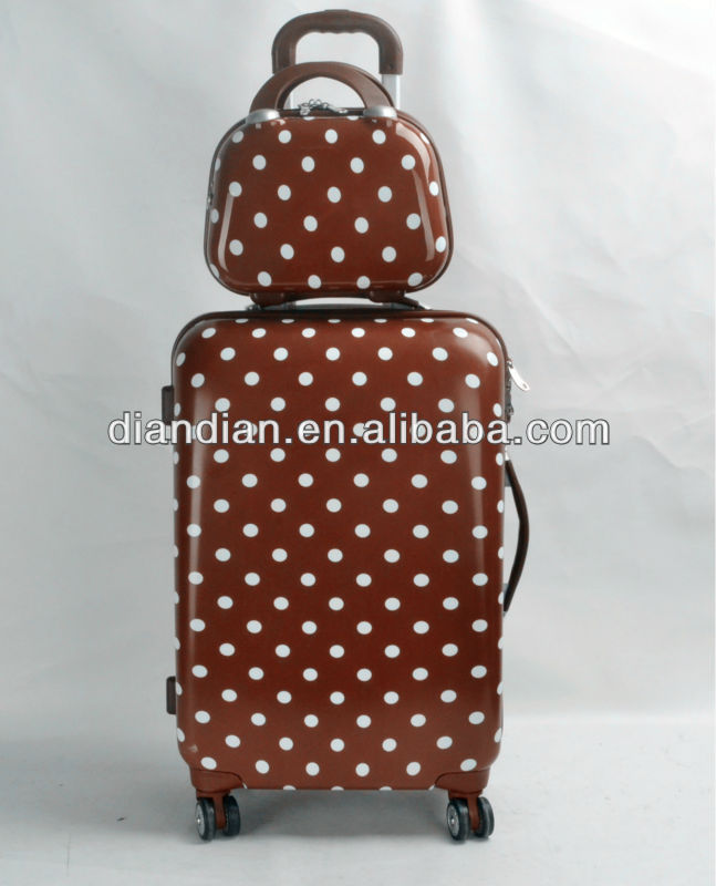 FASHION WHITE DOT ABS+PC LUGGAGE SUITCASE & BEAUTY CASE(DC-8040)