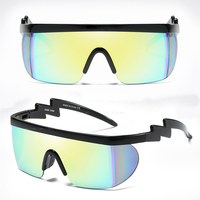 Oversize wrap around one-Piece Half frame shield Designer Futuristic Flat top sport Sunglasses