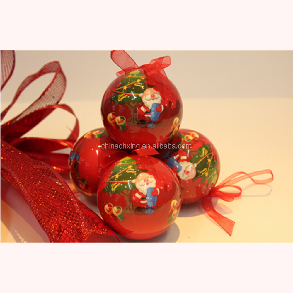 PVC Sticker Santa Claus wholesale shatterproof christmas ball ornaments
