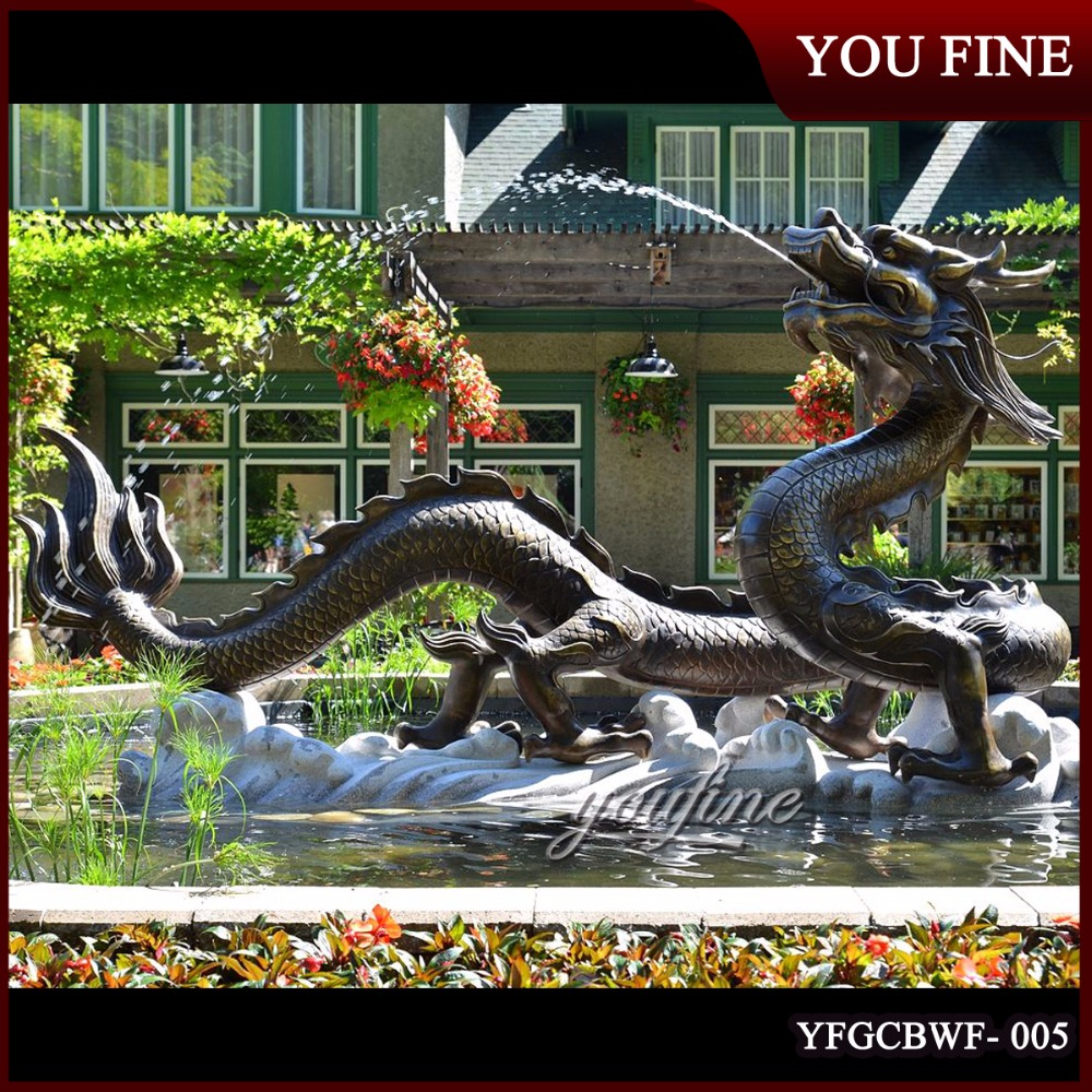 Large Outdoor Bronze Dragon Water Fountain