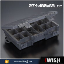 High Quality Black Transparent 2 Tray Plastic Compartments Box Fishing Tackle Box Organzier Container Case