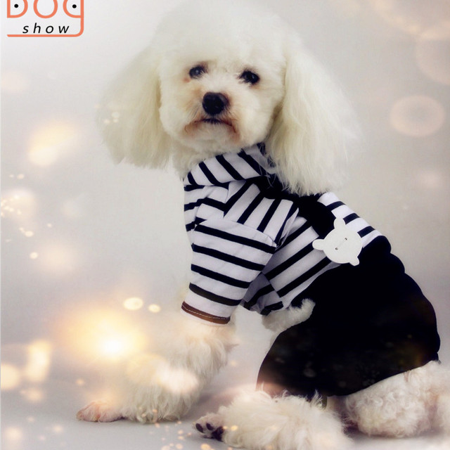 Wholesale classic black and white striped t shirt with overalls dog clothes