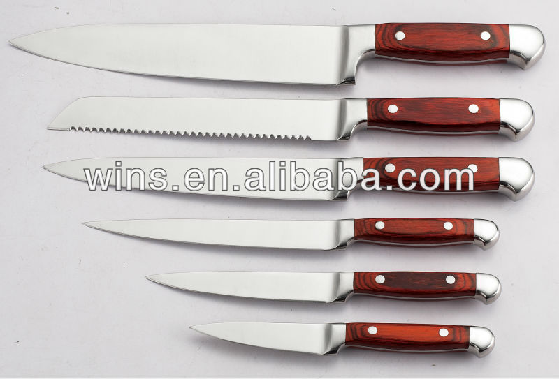 5 piece kitchen knife set with wood handle