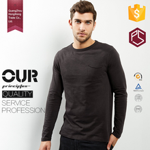Hong Xiong Hot selling product wholesale OEM men fashion 100 polyester/cotton quality black plain long sleeve t shirt