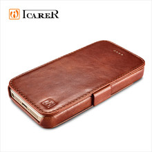 ICARER Genuine Leather Flip Cover for iphone 5 5s SE case