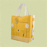2015 new design fashion fresh white color flowers yellow color cotton tote bags for girls