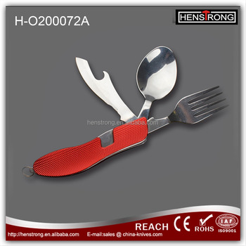 Detachable three function camping cutlery set