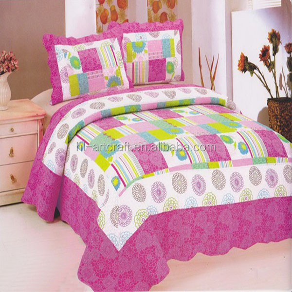 Girl Favorit Cotton Patchwork Quilted Coverlet Bedspreads Bedroom Quilt